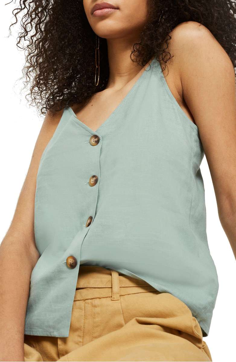 TopShop BUTTON THROUGH CAMISOLE TOP - Nordstrom | Nursing Friendly Tops | Breastfeeding Fashion | Mom Style | Mom Fashion | Summer Style